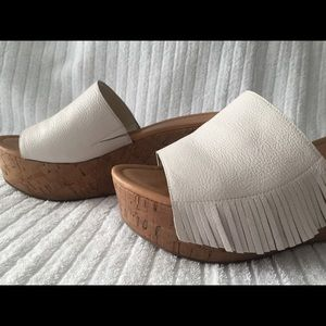 Marc Fisher white fringed sandals